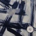 強撚コットンガーゼプリント生地  線柄 オフ白地×紺 (4141-56)