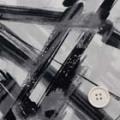 強撚コットンガーゼプリント生地  線柄 オフ白地×黒 (4141-57)