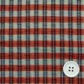シルク小格子サッカー服地 グレイベージュ×オレンジ・黒 【お値打ち品】 【50cm販売】  (4142-04)