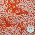 綿80ローンミラクルウエーブプリント生地  更紗柄 オレンジ×白 (4142-33)