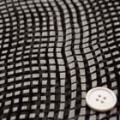 シフォン楊柳ジョーゼットプリント服地 幾何柄 オフ白×黒 《値打ち品》 (4142-64)