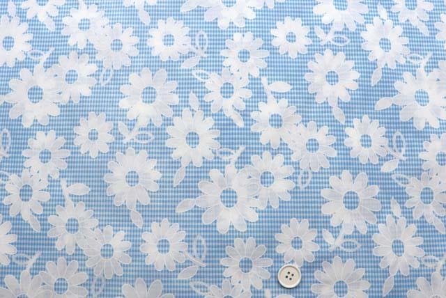 コットンプリント服地 ギンガムチェックと花柄 ブルー 《値打ち品》 (4145-30)