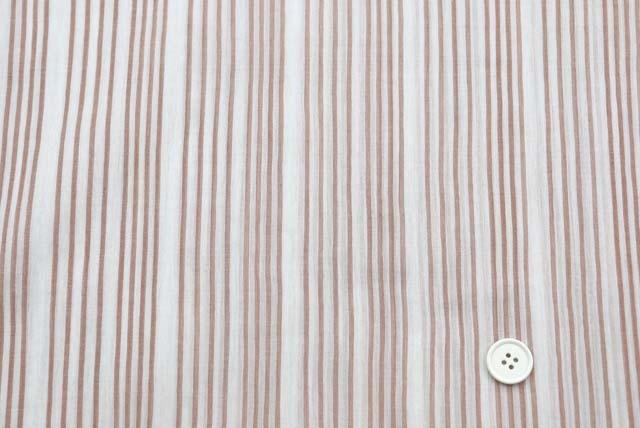 コットン楊柳ランダムストライプ服地 白地×赤茶 《お値打ち品》  (4145-65)