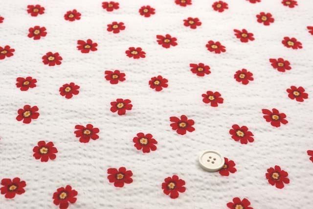 綿80ローンミラクルウエーブプリント生地  花柄 白地×赤(4146-33)