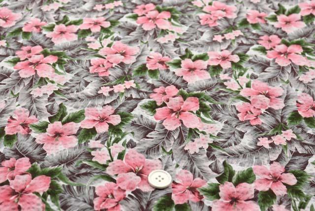 綿80ローンミラクルウエーブプリント生地  ハイビスカス 白地×ピンク(4146-34)