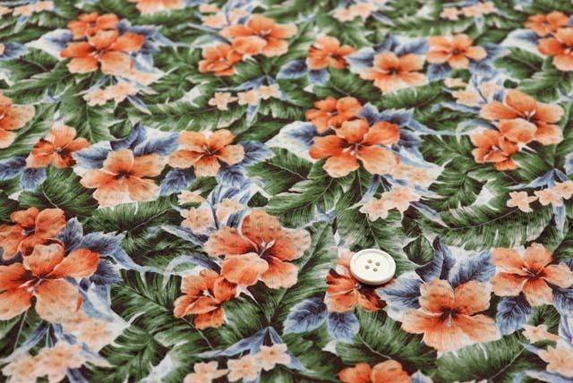綿80ローンミラクルウエーブプリント生地  ハイビスカス 白地×オレンジ(4146-35)