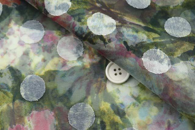 ドッドジャガードボイルプリント服地 花柄 濃いグリーン系 【50cm単位】 (4146-53)