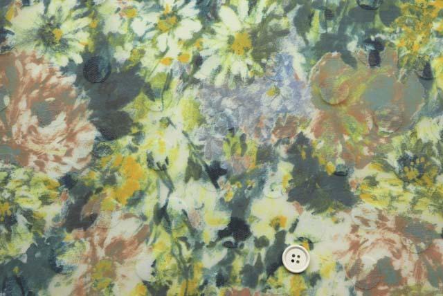 ドッドジャガードボイルプリント服地 花柄 グリーン系 【50cm単位】 (4146-54)