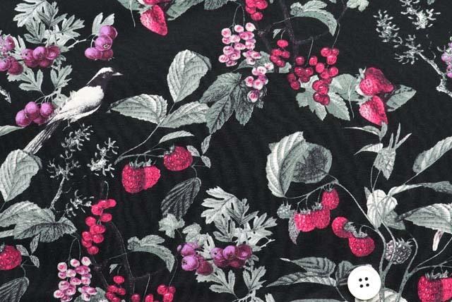 ボタニカルプリント服地 小鳥と果実柄 黒地  (4146-59)