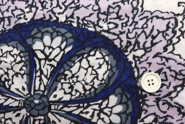 コットンダブルガーゼプリント服地 大きな更紗柄 オフ白地×紺・グレイ 【50cm単位】 (4146-65)