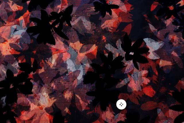 フロッキーボイルプリント服地 花柄 赤茶・紺系×紺フロッキー 【50cm単位】 (4147-22)