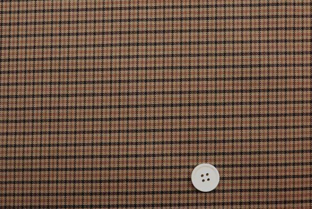 ストレッチガンクラブチェック服地 茶系  (4148-11)