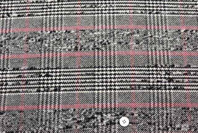 イギリス製ループビッググレンチェック服地 黒・オフ白など 【50cm販売】  (4148-17)