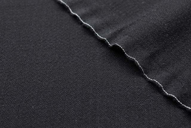 フォーマルブラック 強撚ウールストライプ服地 黒 【50cm販売】  (4149-45)