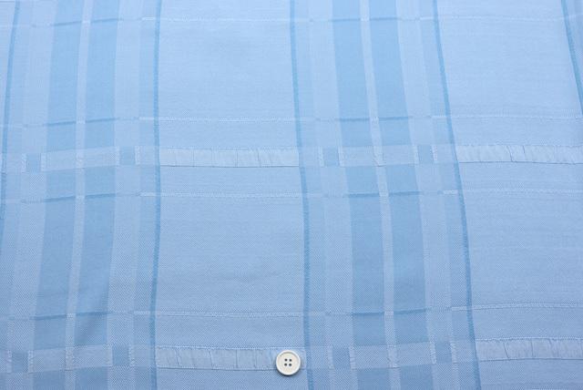 トリアセふくれジャガードチェック服地 水色 【50cm単位】 (4149-65)