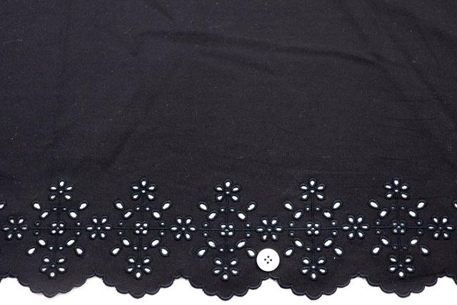 ボーダーレース服地 黒  【50cm単位】 (4151-05)