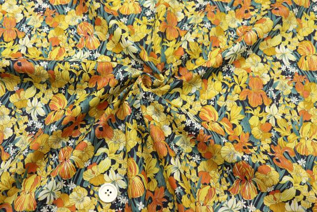 コットン80ローンプリント生地  花柄 紺地×オレンジ・黄 (4151-27)