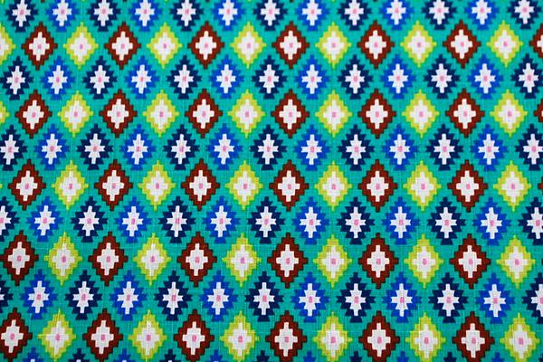 サザンクロス 幾何柄 青緑地