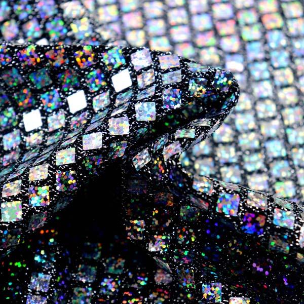 ホログラムスパンコール スクエア ブラックラメ×シルバーホログラム