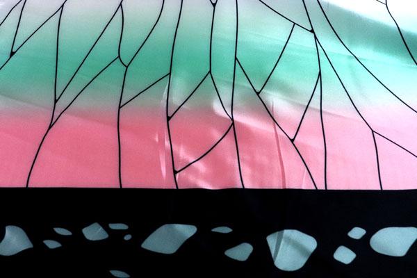人気の和柄シリーズ ダブル巾(140cm)のサテンプリント 蝶の羽 両耳グラデーション