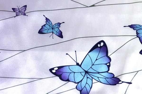 人気の和柄シリーズ ダブル巾(140cm)のサテンプリント 蝶と翅脈 白×紫 両耳ボーダー