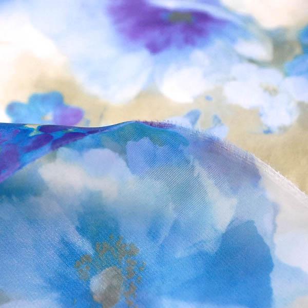 サテンオーガンジー フラワープリント ブルー系