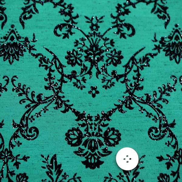 よさこいや舞台衣装に最適な フロッキー加工のシャンタン ダマスク調 グリーン