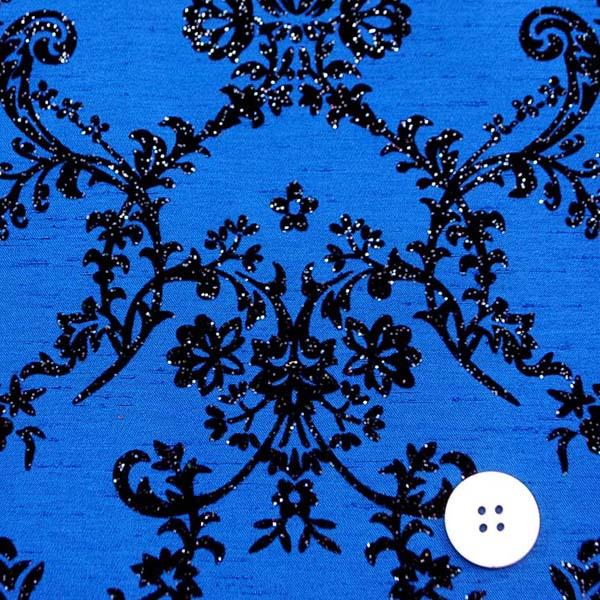 よさこいや舞台衣装に最適な フロッキー加工のシャンタン ダマスク調 ロイヤルブルー