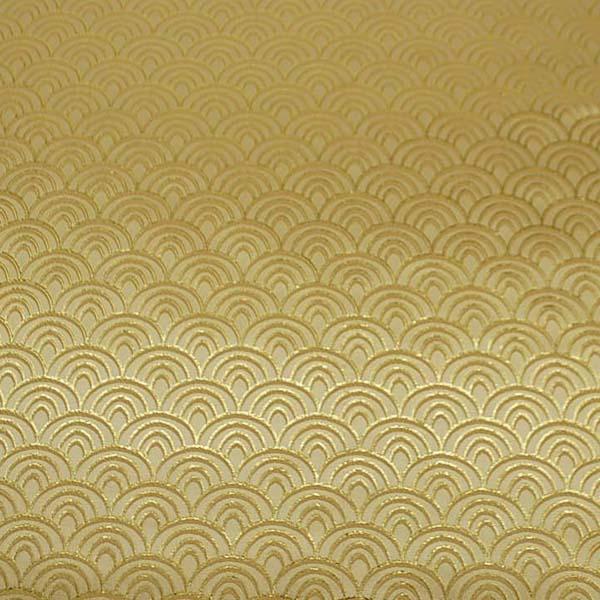 よさこいや舞台衣装に最適な 光沢感のある素材 ラメ入りジャガード 青海波 黄色×ゴールド