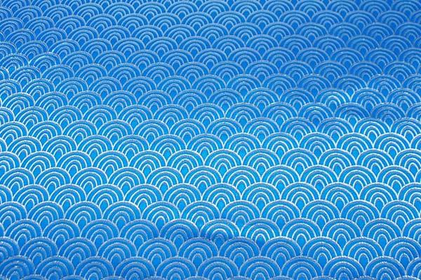 よさこいや舞台衣装に最適な 光沢感のある素材 ラメ入りジャガード 青海波 青×シルバー