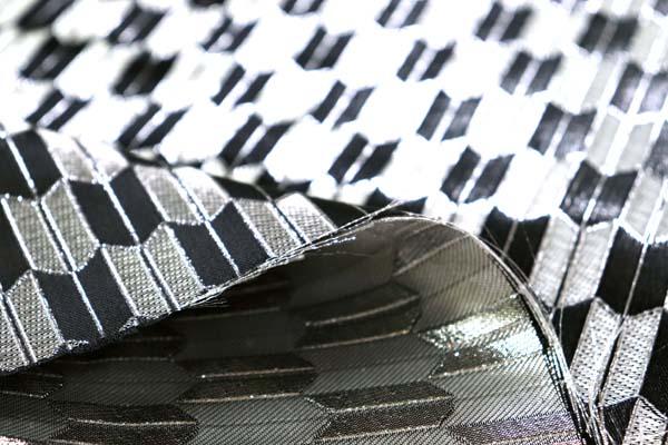 よさこいや舞台衣装に最適な 光沢感のある素材 ラメ入りジャガード 矢絣 銀×黒