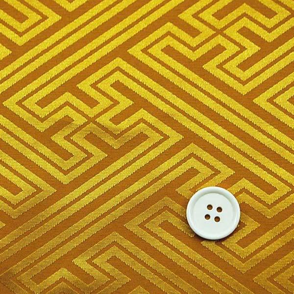 よさこいや舞台衣装に最適な 光沢感のある素材 ポリエステルジャガード 紗綾形 黄色