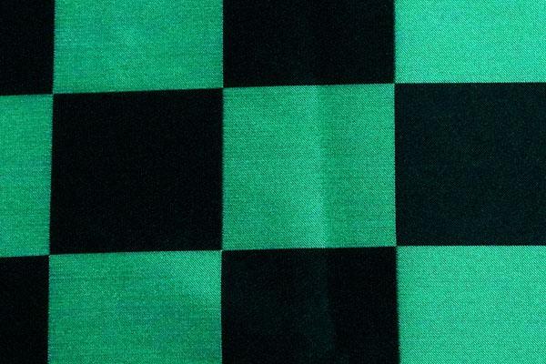 人気の和柄シリーズ ポリエステルジャガード 市松格子 緑×黒