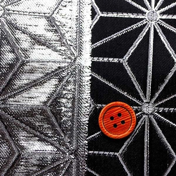 よさこいや舞台衣装に最適な 光沢感のある素材 ラメ入りジャガード 麻の葉柄 黒地にシルバー