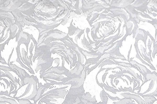 シャンブレーシャンタン ローズジャガード 白×シルバー