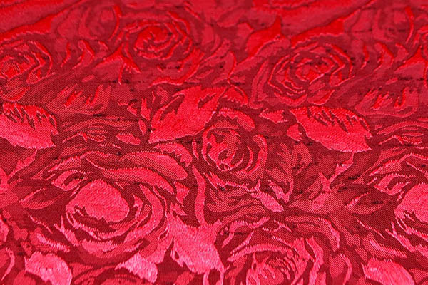 シャンブレーシャンタン ローズジャガード 臙脂×赤