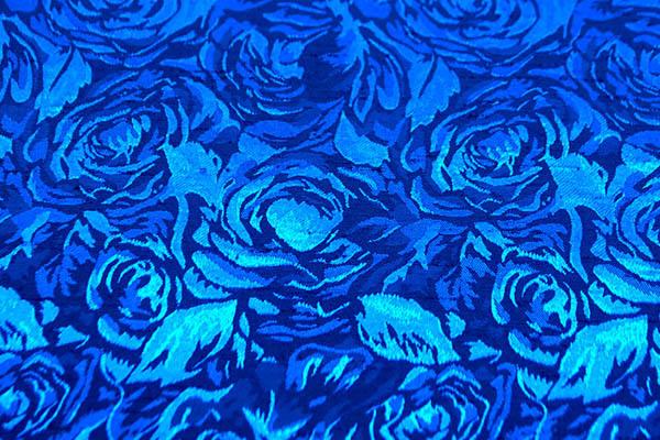 シャンブレーシャンタン ローズジャガード ロイヤルブルー×青