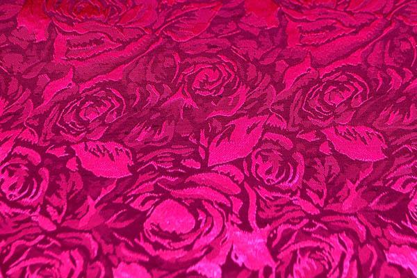 シャンブレーシャンタン ローズジャガード ダークチェリー×赤紫