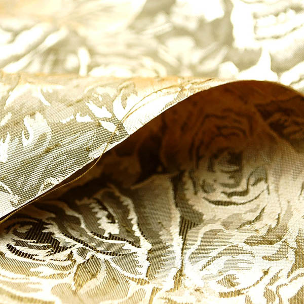 シャンブレーシャンタン ローズジャガード シャンパンゴールド×ゴールド