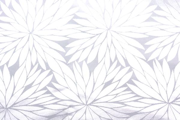 イベントや衣装に最適な光沢感のある素材 ポリエステルジャガード 菊の柄 白