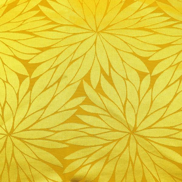 イベントや衣装に最適な光沢感のある素材 ポリエステルジャガード 菊の柄 黄色
