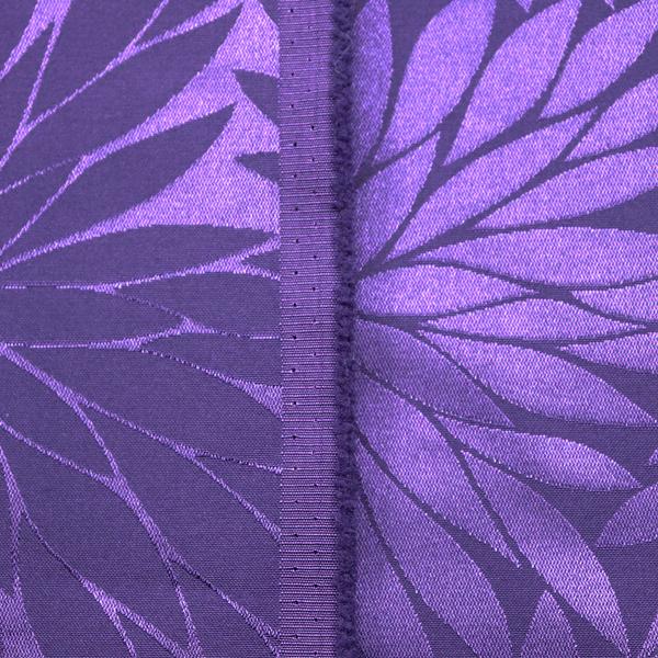 イベントや衣装に最適な光沢感のある素材 ポリエステルジャガード 菊の柄 茄子紺