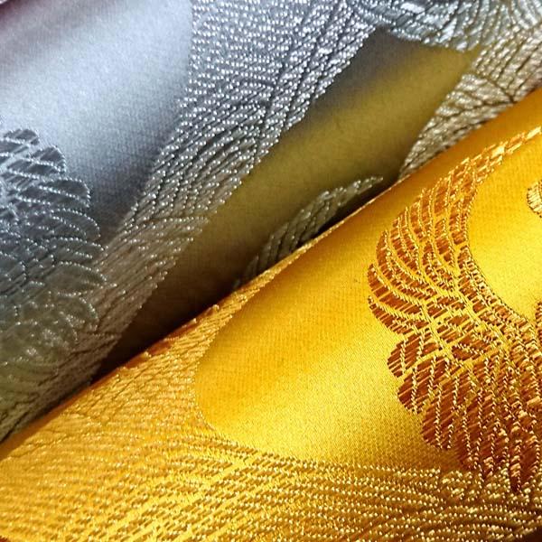 サテンジャガード 鶴に流水 金と銀