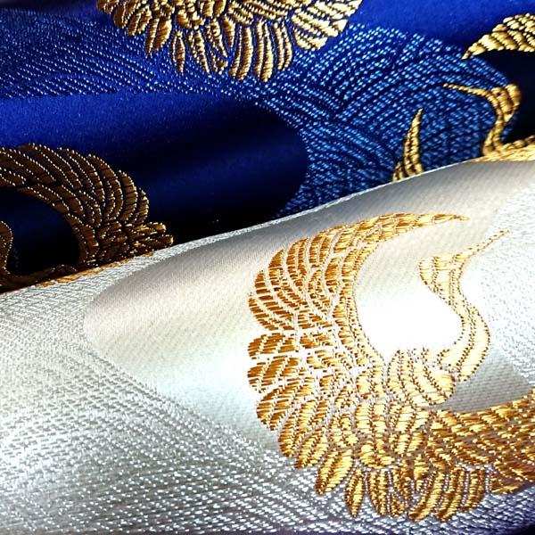 サテンジャガード 鶴に流水 生成と紺