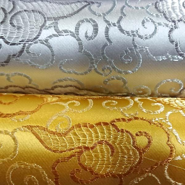 サテンジャガード 雲 金と銀