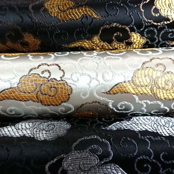 サテンジャガード 雲 黒と生成