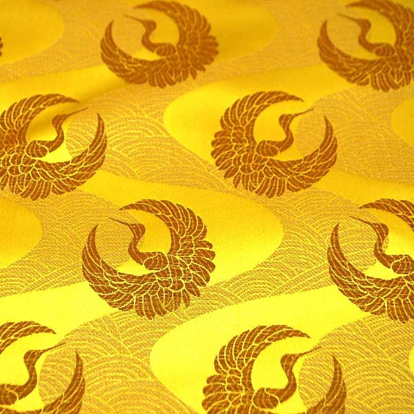サテンジャガード 鶴に流水 ゴールド×ゴールド