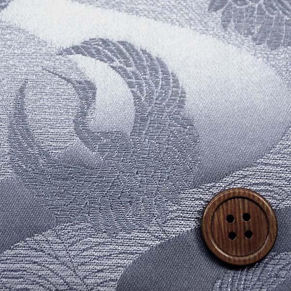 サテンジャガード 鶴に流水 シルバー(シルバーグレー)×シルバー