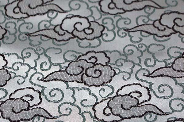 サテンジャガード 雲 シルバー(シルバーグレー)
