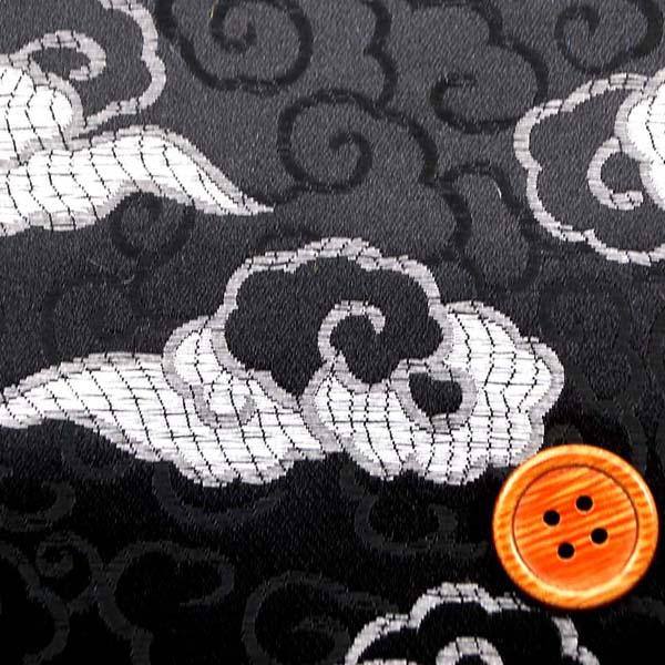 サテンジャガード 雲 黒×シルバー
